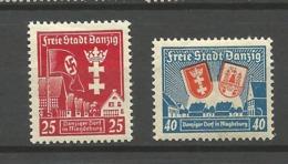 Danzig  1937 Mi.Nr.: 274-75 Magdeburg Mint Hinged X - Danzig