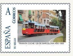 TRANVIAS -  SELLO PERSONALIZADO DE ESPAÑA (SPAIN) TRANVIA COCHE 129 DE BARCELONA AÑO 1906 - TEMA TRAMWAY - Tram