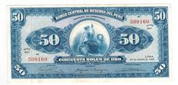 Peru 50 Soles, 1965. AUNC/UNC - Peru