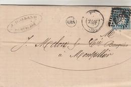 Yvert 60A Cérès Lettre Entête Rolland MONTBLANC Hérault Cachet OR  GC 3873 ST Thibéry 22/8/1873 à Montpellier - 1849-1876: Période Classique