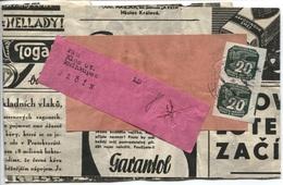 Böhmen Und Mähren # 123 (2x) Streifband Bahnpost-stempel Pardubitz-Jicin - Briefe U. Dokumente