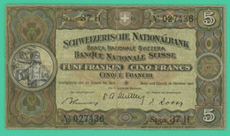 5 Francs - Suisse - Série 37H -027436 - TB + - Oct 1947 - - Suisse