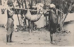 GUINEE  FRANCAISE   Environs CONAKRY     Retour De Chasse   ,transport D'une Biche      SUPER PLAN   1910 RARE - Guinée Française