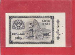 PEOPLES BANK OF BURMA . ONE KYAT . 2 TROUS D EPINGLE  .  2 SCANES - Myanmar