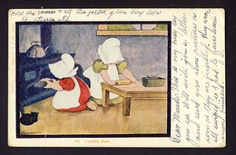 SUNBONNET GIRL GIRLS - Rolling Dough Making Pie - Baking Day - Artist B.I.? / B.L.? Corbett - Posted 1906 - Autres Illustrateurs