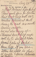 Great Britain Postal Stationery Ganzsache PRIVATE Print S. W. ROYSE & Co. No. Cds. '498' MANCHESTER 1887 DRAMMEN Norway - Briefe U. Dokumente
