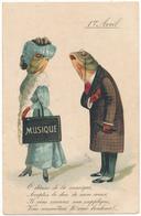 1 Er AVRIL - Poissons Humanisés, Déesse De La Musique - 1° Aprile (pesce Di Aprile)