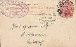 Great Britain Postal Stationery Ganzsache Entier LORENTZ GJERSÖE Steam Broker, LIVERPOOL 1896 DRAMMEN (Arr.) Norway - Briefe U. Dokumente