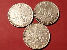 LOT DE 3 MONNAIES FRANÇAISES ARGENT SEMEUSE 2 FRANCS 1908 1909 1910  Non Nettoyé - I. 2 Francs