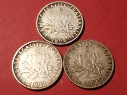 LOT DE 3 MONNAIES FRANÇAISES ARGENT SEMEUSE 2 FRANCS 1898 1902 1904  Non Nettoyé - I. 2 Francs
