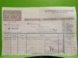 Facture, Charles Burg. Echternach 1950 - Luxembourg