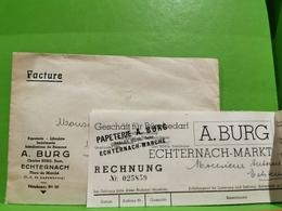 Facture +Enveloppe, À. Burg Echternach 1947 - Luxembourg