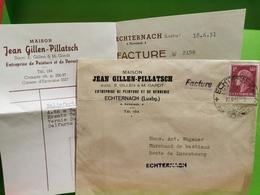 Facture +Enveloppe, Jean Gillen-Pillatsch Echternach 1951 - Luxembourg