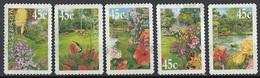 Australia 2000 Sc. 1823-1827 Gardens Flowers Fiori Giardino Coil Stamps Autoadesivo Perf. 11 3/4 Used Full Set - Flora