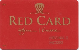 Carte De Membre Casino : Wynn Encore Las Vegas RED CARD - Cartes De Casino