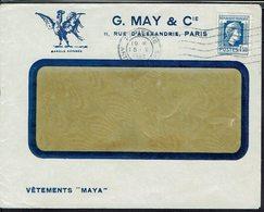 """Fr - 1944 - G. May & Cie Vêtements """"Maya"""" Paris - Marianne D'Alger 1,50 F Seul Sur Enveloppe Illustrée - B/TB - - Storia Postale"""