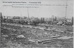FLEURUS . GUERRE 15 NOVEMBRE 1918. LES RESTES DES 250 WAGONS APRES LES  EXPLOSIONS - Fleurus