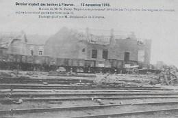 FLEURUS. GUERRE 15 NOVEMBRE 1918. MAISON FERRY-TRIPLOTCOMPETEMENT DETRUITE APRES EXPLOSION - Fleurus