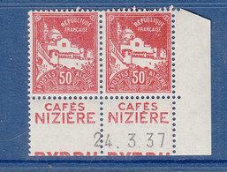ALGERIE 79A PAIRE DE CARNET PUB CAFE NIZIERE COIN DATE 24.3.37 LUXE SANS CHARNIERE - Algeria (1924-1962)