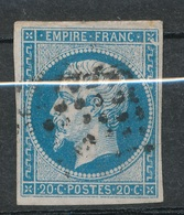 N°14 VARIETE MARQUEE AU VERSO. - 1853-1860 Napoleone III