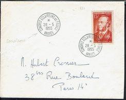 """Fr - N° 880 """"Jules Ferry"""" Seul Sur Enveloppe Pour Paris - Cachets Congrès Des Eclaireurs De France Vanves 28-5-1955 - - Postmark Collection (Covers)"""