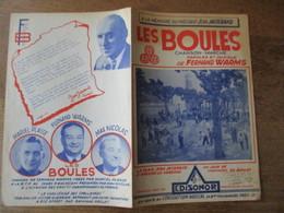 LES BOULES CHANSON-MARCHE A LA MEMOIRE DU PRESIDENT JEAN JASSERAND PAROLES ET MUSIQUE DE FERNAND WARMS 1957 - Partitions Musicales Anciennes
