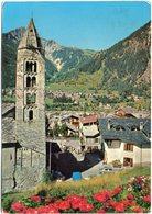 COURMAYEUR - Scorcio Panoramico, La Chiesa Di S. Pantaleone Con Il Campanile Romanico (a. 1392) E La Casa Delle Guide - Italia
