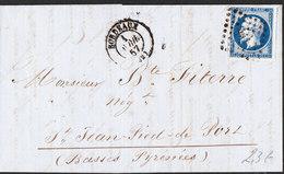FRANCE Lettre Napoléon 20c ND De BORDEAUX Du 1er Avril 1857 Via SAINT JEAN PIED DE PORT - Marcophilie (Lettres)