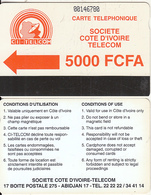 IVORY COAST - CI Telcom Logo 5000 FCFA(large CN, 0 With Barred), Third Issue(with Notch), Used - Côte D'Ivoire