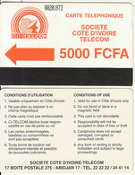 IVORY COAST - CI Telcom Logo 5000 FCFA(small CN, 0 With Barred), Third Issue(with Notch), Used - Côte D'Ivoire