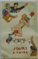 MILITAIRE - MARIN / Dessin Illustrateur CH.J. - Femme En Robe - Carte Postale à Système : Encore ... Jours à Faire - Umoristiche