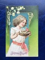 """Embossed-Gaufrée--""""Oeuf De Pâques éclate Dans Panier D'une Fille émerveillée""""--(914) - Easter"""