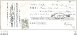 Mandat Pub  Tissage Mécanique EDMOND VAN CUYL 187 Chaussée De Droogenbosch  UCCLE CALEVOET  1936  +  Timbre Fiscal - Fiscaux