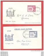 2 FDC  FIJI FIDJI   15 November  1948  - 1 Augustus 1950 - Fidji (1970-...)