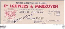Ancienne Facture Oude Factuur SCHAERBEEK Rue Stephenson, 122  AUTOMOBILE MINERVA Lauwers & Marroyen - Auto's