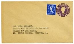 QEII : POSTAL STATIONERY, UPRATED - HEARTS OF OAK BENEFIT SOCIETY, CLARE STREET, BRISTOL & EUSTON ROAD, LONDON - 1952-.... (Elizabeth II)