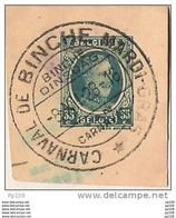 Fragment D'entier Postal (Houyoux) Avec Oblitération Complète CARNAVAL De BINCHE Mardi-Gras 8 XII 1928 - Postmark Collection