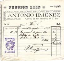 Facture Hotel Pension Rhin Antonio Jimenez Carrera San Jeronimo Madrid Espagne 1918 - Espagne