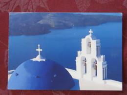 "Greece 1996 Postcard ""Santorini"" Chania To England - Olympic Games - Weight Lifting - Grèce"