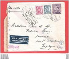 POORTMAN Sur L Par Avion BRUXELLES BRUSSEL  QL  19 X 1943 Vers Espagne A CENSURAR  EN DESTINO  Hernani St Sebastian - Postmark Collection