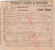 Récépissé Colis Postal 1941 / Chemins De Fer D'Etival à Senones / 88 Vosges / Exp Gare Moyenmoutier - Colis Postaux