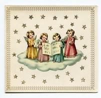 Noel Weihnachten Christmas Anges Engeln Angels (carte Double,paillettes) - Angeli