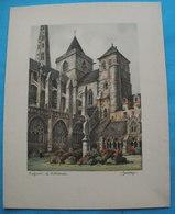 Gravure Signée BARDAY TREGUIER LA Cathédrale - Stampe & Incisioni