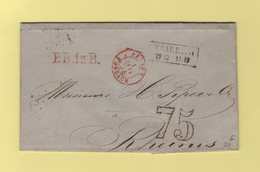 Entree Prusse Forbach Sur Lettre De Trarbach Pour Reims - 4 Janv 1854 - Taxe Double Trait 75 - 1849-1876: Klassik