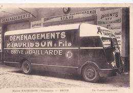 CPA : Camion De Déménagement   Taurisson à Brive (19)  Renault  ?? - Trucks, Vans &  Lorries