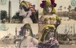 Femme Photo 851, X 4 Artiste 1900 Egypte Art Nouveau Bijou - Donne