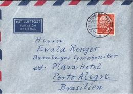 ! 1962 Luftpost Brief Aus Münster Nach Porto Alegre Brasilien, EF Frankatur Nr. 264, Heuss 80 Pfennig - [7] République Fédérale