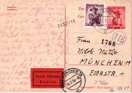 ! 1959 Eilboten Expres Ganzsache Aus Wien, Österreich Nach München - 1945-.... 2a Repubblica