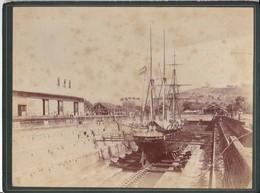 Photo Ancienne 3 Mats Runaway ? Carénage Tropique 1870-90 - Bateaux