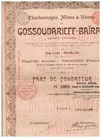 Titre Ancien - Charbonnages, Mines & Usines De Gossoudarieff-Baïrak - Titre De 1899 - Mines